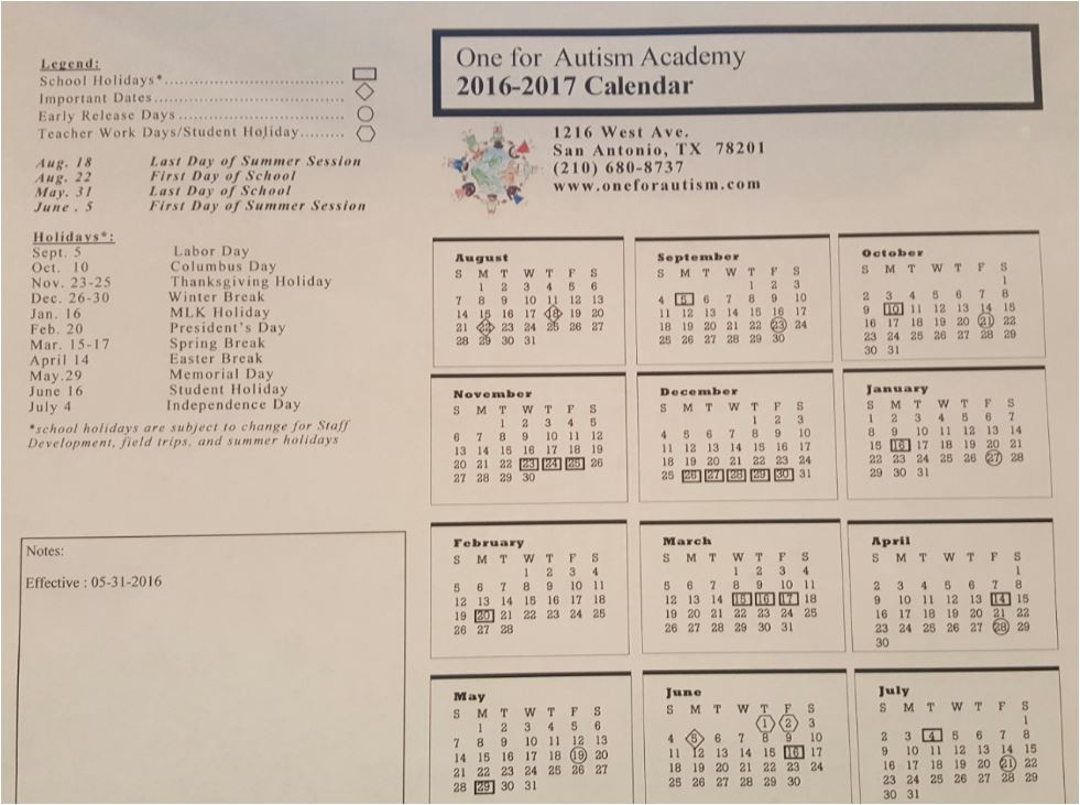 2015 - 2016 One for Autism Calendar